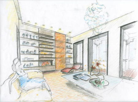 diseño interiores sketch