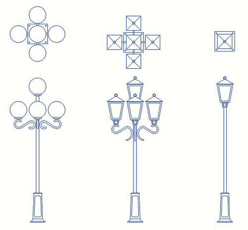 Descarga bloques de Farolas y Postes de luz para Autocad